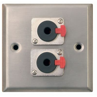 F267XG Silver Metal AV Wall Plate With 2 x 6.35mm Stereo Jack Sockets.