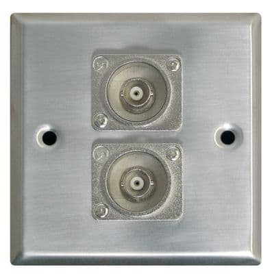 F267XK Silver Metal AV Wall Plate With 2x BNC Sockets.