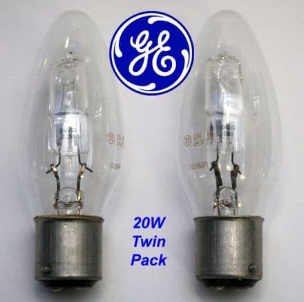 GE Twin Pack Halogen Candle Bulbs - 20W BC Fitting