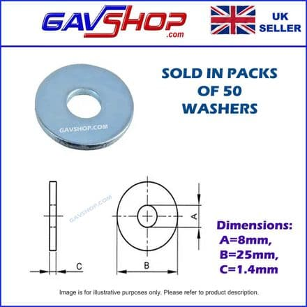 M8 x 25mm (1in) Steel BZP Penny Mudguard Washers, 50 Pack