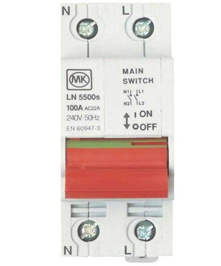 MK Sentry 100A Double Pole Consumer Unit Main Switch Isolator