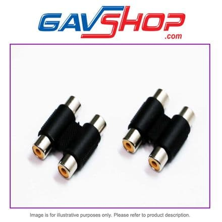 PACK of TWO NICKLE PLATED 2 x PHONO RCA SOCKETS to 2 x PHONO RCA SOCKETS