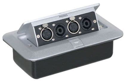 Pop-up AV Combination Plate with 2 x 4 Pole Connectors and 2x 3 Pin XLR Sockets.