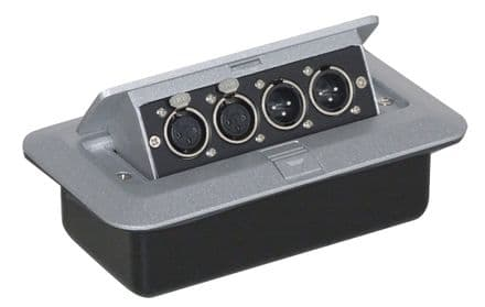 Pop-up AV Combination Plate with 3 Pin Chassis Plugs & XLR Sockets - F267WF