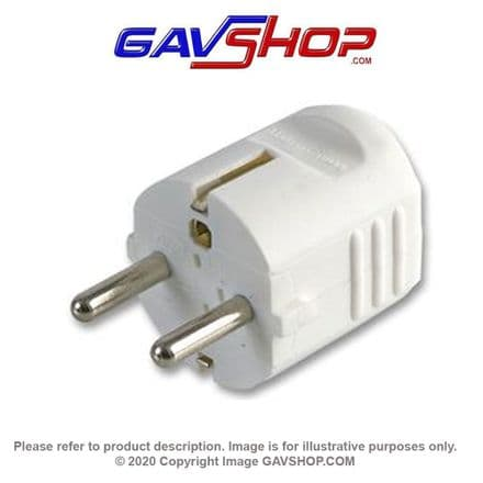 PROELEC 16A Compact Euro Plug Rewireable Schuko. White European Plug Top Connector