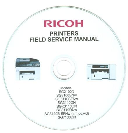 RICOH PRINTERS FIELD SERVICE MANUAL DOWNLOAD or  CD DISC