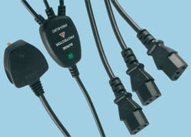 Surge Protected UK Mains Plug to 3 Way IEC Leads