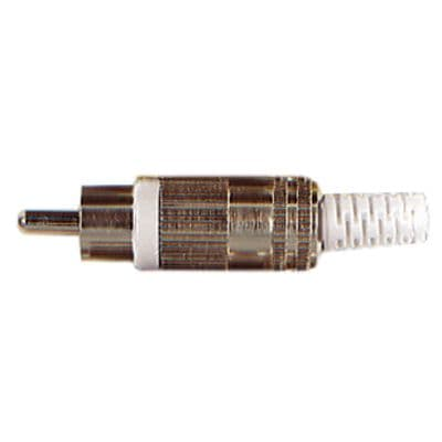WHITE Phono RCA Plug with Metal Cover and Solder Terminals F250U
