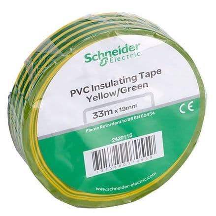 Yellow/Green Earth Electrical Insulation Tape 19mm x 33Mts (3)