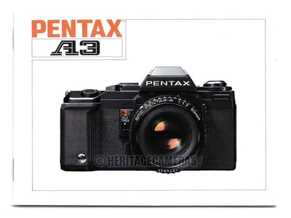 Original Printed Instruction Manual for the Pentax A3 (A3000) 35mm Film SLR Camera, in English