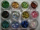 12 Color DIAMOND Shape RHOMBUS Glitter Spangle Nail Art