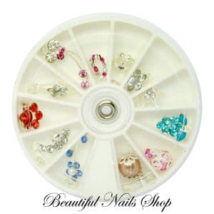 12 Nail Art Decoration Dangles Charms With Rhinestones / set 3