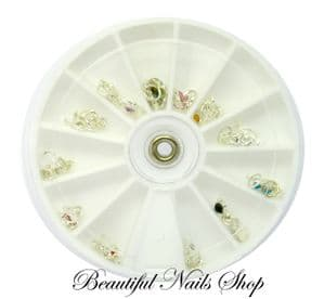 24 Nail Art Decoration Dangles Charms w/ Rhinestones /set 4