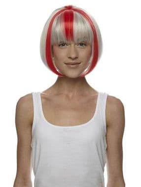 England! England!  Synthetic Wig with England Red & White Stripe