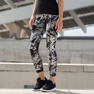 MS/SK424 Women's Reversable Work-Out Leggings With Marlow Striders Logo On Patterned Side