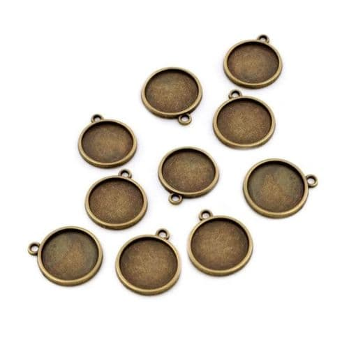 10mm Double-Sided Bronze Charm Bezels