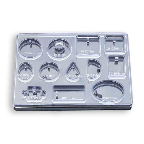 12 Piece Multi Flat Silicone Pendant Mould - No Drill