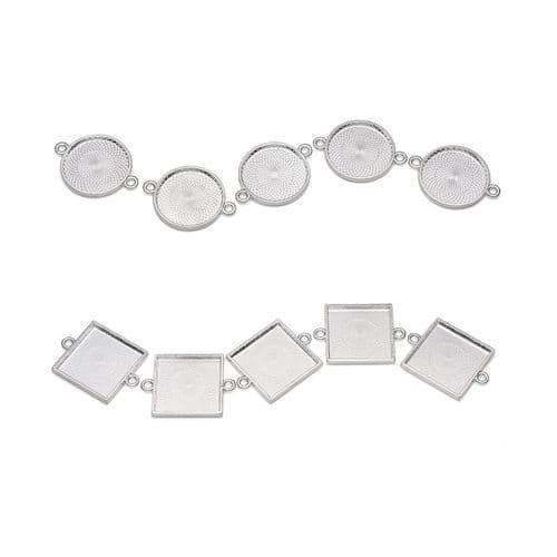 25mm Round or Square Bracelet Bezels