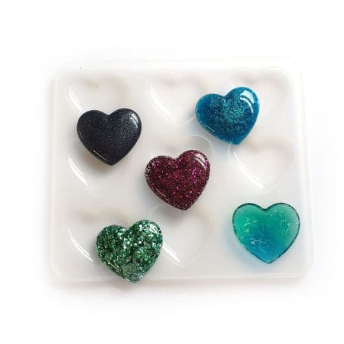 Flatback Domed 9 Piece Silicone Heart Mould
