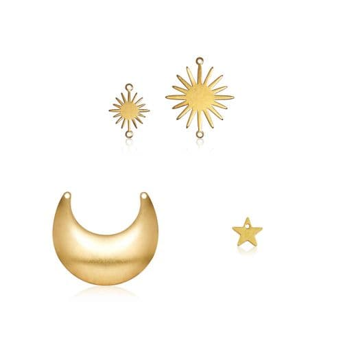 Raw Brass Charms: Celestial Shapes