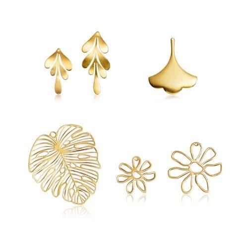 Raw Brass Charms: Flora