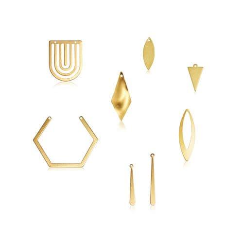 Raw Brass Charms: Geometric Shapes