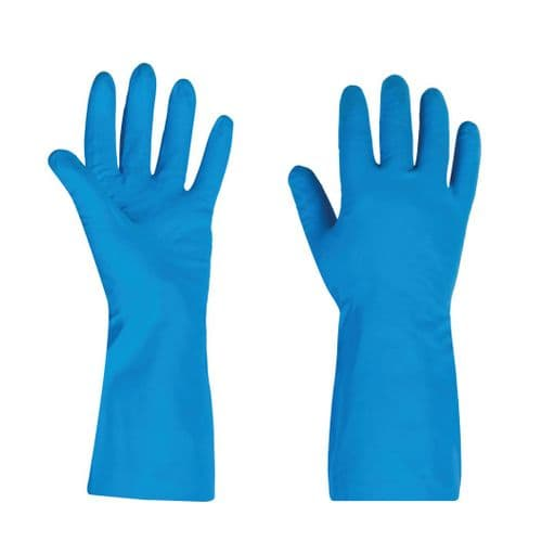 Reuseable Long Blue Nitrile Gloves