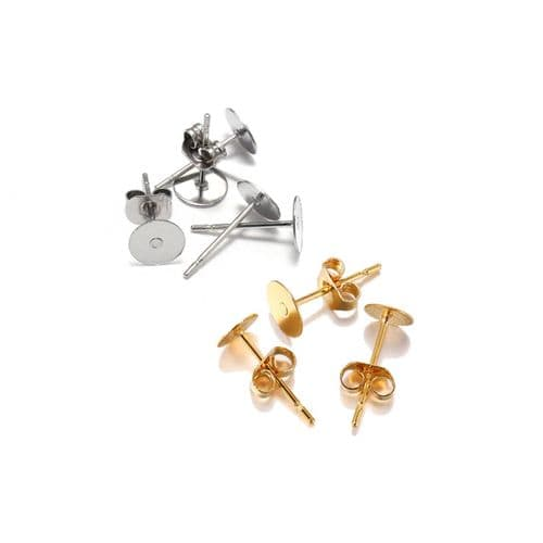 Stainless Steel 6mm Ear Posts with Butterfly Backs - 25 Pairs