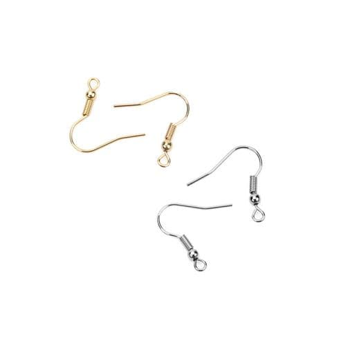 Stainless Steel Ball & Spring Ear Hook Wires - 25 Pairs