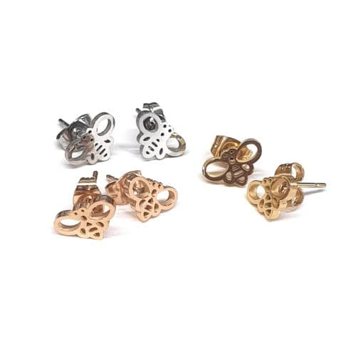 Stainless Steel Buzzy Bees Stud Earrings – Pair