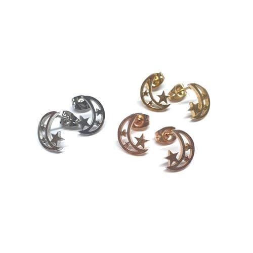 Stainless Steel Celestial Stud Earrings – Pair