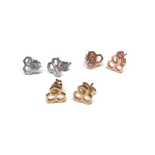 Stainless Steel Honeycomb Stud Earrings – Pair