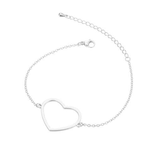 Stainless Steel Open Backed Heart Bezel Bracelet