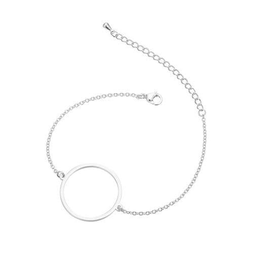 Stainless Steel Open Backed Round Bezel Bracelet