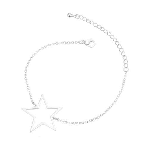 Stainless Steel Open Backed Star Bezel Bracelet