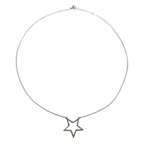 """Stainless Steel Open Backed Star Bezel Necklace Chain - 20"""""""