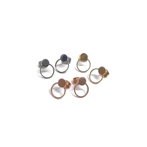 Stainless Steel Round Stud With Round Bezel Earrings – Pair