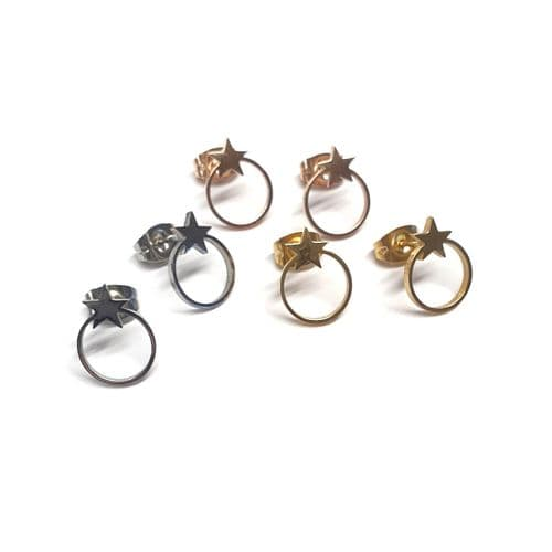 Stainless Steel Star Stud With Round Bezel Earrings – Pair