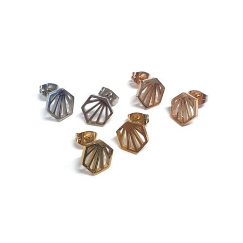 Stainless Steel Sunny Hexagonal Stud Earrings – Pair