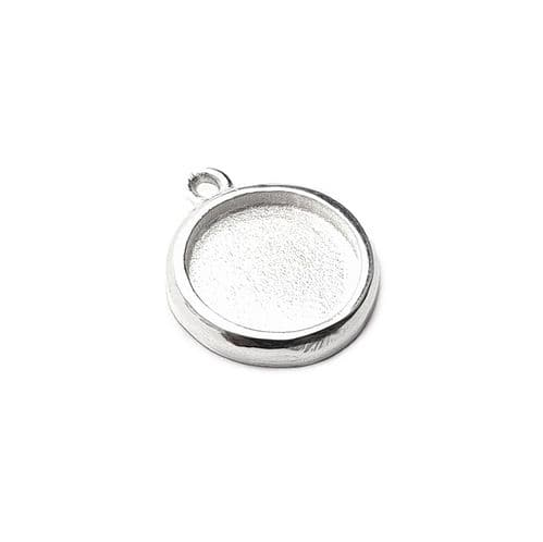 Sterling Silver Simple Charm Bezel - Small