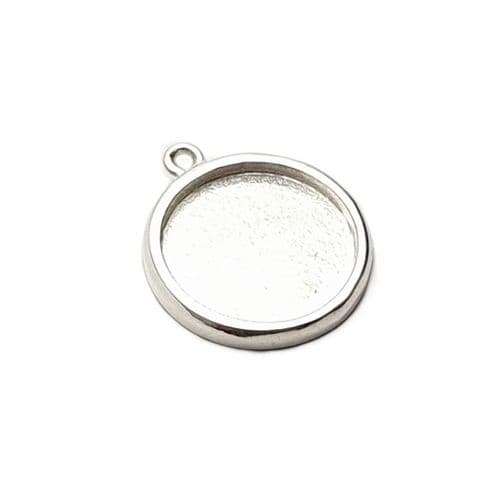 Sterling Silver Simple Charm Bezel Without Bail - Medium