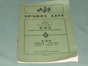 A.J.S Spares list for 1950 350cc and 500cc Single Cylinder A.J.S Spring Frame And Rigid Models