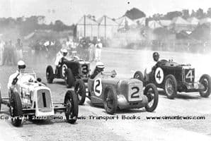 AUSTIN 7 single seaters & MG K3s at Brooklands c 1934-1935 Empire trophy.   Photo