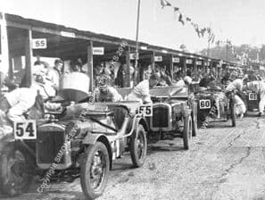 AUSTIN 7s & MGs in Pits before Brooklands Double-12 1931. Victoria Worsley nearest