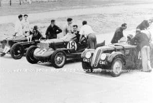 BMW 328 (Fane) Brooke Special (Brooke) and another special . Photo at Brooklands , late 1930s