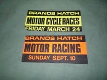 BRANDS HATCH  2x late 60s/early 70s car Window stickers CAR and BIKE racing