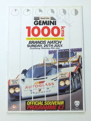 BRANDS HATCH GROUP C 1000kms 1987 program SIGNED by Martin Schanche