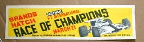 BRANDS HATCH Race of Champs F1 1971 Window sticker