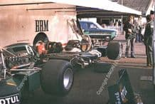 BRM P160s of Beltoise & Migault  in paddock Silverstone Daily Express 1974
