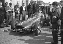 BRM V16 Mk2 (P15) Flockhart's car in paddock. Tony Rudd at the wheel. Castle Combe August 1954